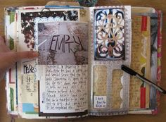 found @Debra Cooper's blog, A Little Inspiration and Pile of Junk - I love how she uses found items and stuff you'd usually throw in the garbage and forms a journal instead.  Very cool!