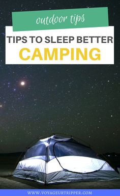 10 Tips to Help You Sleep Better Camping in a Tent. I camping tips I tips for camping I outdoor tips I outdoor adventures I advice for camping I advice on sleeping in a tent I camping advice I tent advice I tips for outdoor adventures I get outdoors I get outside I outdoor adventure tips I advice on outdoor adventures I #camping #outdoortips Camping Set Up, Canoe Camping, Camping Packing, Camping Hacks, Camping Ideas, Travel Advice, Travel Tips, Travel Hacks, Sleep Better Tips