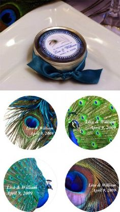 PEACOCK Wedding Bridal Shower Favor Tins - Empty