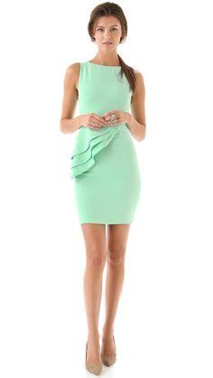 alice + olivia mint peplum dress