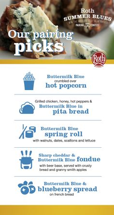 Our favorite summer blues pairings using our Buttermilk Blue. Cheese Pairings, Best Cheese, Pita Bread, Spring Rolls, Stuffed Hot Peppers, Grilled Chicken, Summer Blues, Food And Drink, Pairs