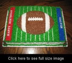 Football sheet cake for a young boy's birthday.  Thanks for...