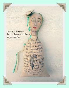Lessons from a Seahorse is an OOAK Poetry Pillow Art Doll
