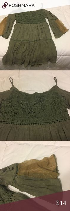 Olive Cold Shoulder Gypsy Dress Lace bodice, cold shoulder, full tiered skirt, sheer lace on sleeves. New Vivid Importers of NY Dresses Mini