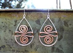 Mixed metal hand hammered earrings. Sterling by ARTdesignsbyannart, $40.00