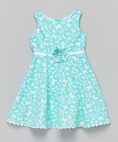 Look at this #zulilyfind! Blue & White Butterfly Dress - Toddler & Girls by Youngland #zulilyfinds