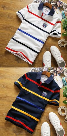16.94  Men s Cotton Polo - Striped Shirt Collar   Short Sleeve 1671b40622573