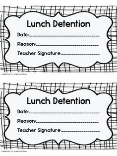 Four lunch detention slips can be printed per page and