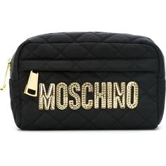 Moschino quilted makeup bag found on Polyvore featuring beauty products, beauty accessories, bags & cases, black, travel bag, makeup purse, quilted makeup bag, cosmetic purse and travel kit