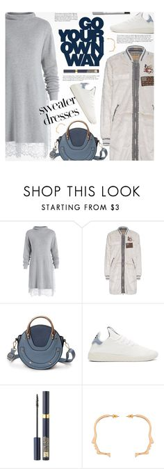 """""""Cozy and Cute: Sweater Dresses"""" by beebeely-look ❤ liked on Polyvore featuring True Religion, adidas Originals, Cullen, Estée Lauder, Lumene, casual, casualoutfit, WhatToWear, sweaterdresses and gamiss"""