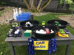 Hot wheels party - activity idea. car wash with shaving foam, water and a couple of buckets