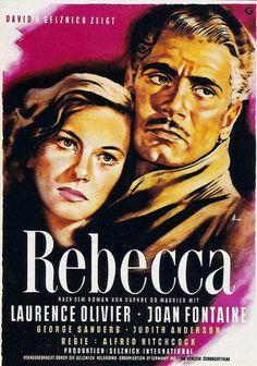 Rebecca 1940 #graphicdesign #vintage #popculture #film #poster