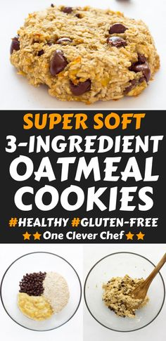 Ready under 20 minutes, these healthy, chewy and soft banana & oatmeal cookies a. Ready under 20 minutes, these healthy, chewy and soft banana & oatmeal cookies are made with only 3 simple in Healthy Oatmeal Cookies, Healthy Cookie Recipes, Oatmeal Cookie Recipes, Lactation Cookies, Oatmeal Chocolate Chip Cookies, Healthy Baking, Chocolate Chips, Banana Recipes No Baking Soda, Oatmeal Cookies Without Butter