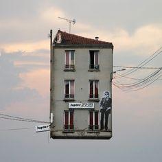 Houses in the sky people get to by highwire powerlines and heart ballooons Estos ejemplos de la arquitectura surrealista le hará sentirse mareado