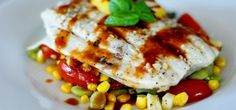 Baked Halibut with Succotash and Pan Asian Sauce (copycat from Bonefish Grill) Bonefish Grill Recipes, Grilling Recipes, Fish Recipes, Seafood Recipes, Cooking Recipes, Healthy Recipes, Copycat Recipes, Cooking Ideas, Healthy Foods
