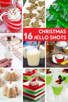 A roundup of 16 Christmas Jello shots -- Christmas party food! Christmas Jello Shots, Christmas Drinks Alcohol, Christmas Party Food, Christmas Cocktails, Christmas Christmas, Christmas Pudding, Christmas Cupcakes, Holiday Drinks, Christmas Treats