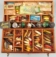 Antique Tackle Box Full of Wooden Fishing LuresLooks just like the box i have my grandfather built he was a rep for Seminole sporting goods Jax. Fl s. Blowers. Many of lures were sold still own many samples limited editons from 1940's- 1980's