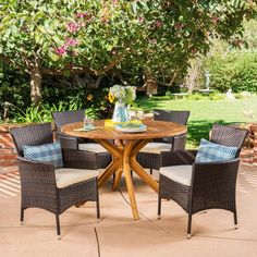Cedros 5pc Acacia Wood And Wicker Dining Set - Christopher Knight Home : Target Outdoor Dining Set, Patio Dining, Outdoor Furniture Sets, Dining Table, Outdoor Decor, Outdoor Projects, Dining Furniture, Outdoor Spaces, Wicker Dining Chairs