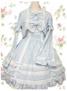 Sweet Cotton Turtleneck Trumpet Sleeves Empire Knee-length Ruffles Lolita Dress With Bow