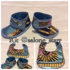 Ankara baby bib and matching booties set   Baby by SaloneStarr