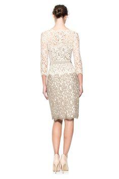 Lace ¾ Sleeve Dress with Grosgrain Ribbon Belt | Tadashi Shoji