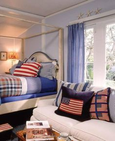 red white and blue bedroom with plaid, chambray and ticking