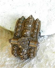 Antique Yemen Silver Filigree Bridal Dowry Bracelets