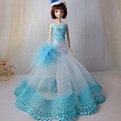 barbie partito bambola abito da sera blu scuro ricamo – EUR € 7.99