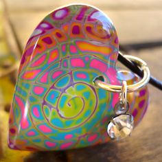 Neon Rainbow Healing Heart Pendant by purplecactusstudios
