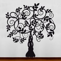 Black Silhouette Vine Tree Decal Sticker Picture by OriginalWalls