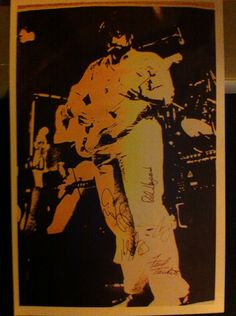 Rare signed photograph of Lowell George playing with Little Feat in Newcastle. Taken by my dad
