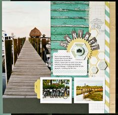 Love the colors, one large photo and two small, bordered photos.