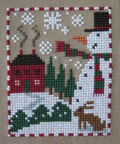 Stitching Dreams: Week Thirty-Four: Prairie Schooler Snowman and Bunny