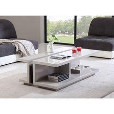 B-Modern DJ Cream High-Gloss and Black Steel Modern Coffee Table