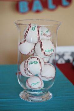 Season Opener: Baseball Party Ideas.   Centerpiece idea using baseballs.