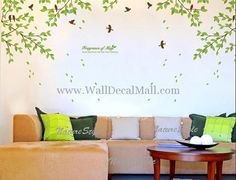 Fragrance Of May Branches With Birds Wall Decals– WallDecalMall.com