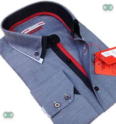 Mens Formal Smart, Slim Fit, Italian Design Double Collar Shirt - Grey, with Black & Red - Only At A2Z Fashion - £39.99 FREE UK DELIVERY (Ship Worldwide)