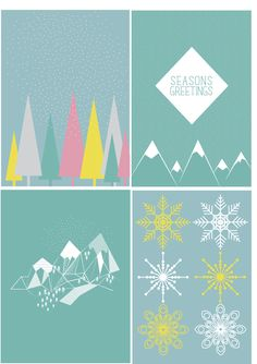 Geometric winter scene christmas cards