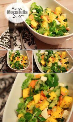Mango-Mozzarella-Salat  Dafür benötigt ihr:  - eine Karotte - eine halbe Mango - eine handvoll Feldsalat - eine halbe Kugel Mozzarella - 1/3 Gurke  Für das Dressing habe ich ein Essig & Öl Dressing (m (Veggie Chili Recipes)