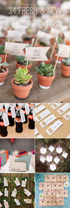 Say goodbye to folded paper escort cards! We have tons of ideas, from mini Coke bottles to potted succulents, and more   Brides.com