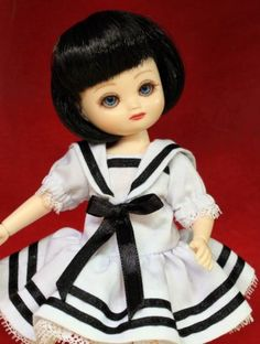 #dollchat Tiny Betsy McCall: 2007 Kickits sailor dress on 2008 Ultimate Collection BJD 8in Betsy McCall