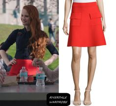 """Cheryl Blossom wears this A.L.C. """"Aaron"""" red a-line ponte skirt on Riverdale 1x01"""