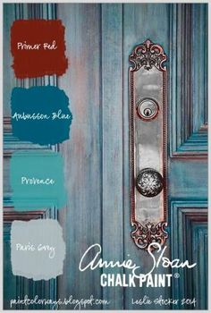 COLORWAYS Pinterest Photo of door provides inspiration for creating a blue translucent finish with Annie Sloan Chalk Paint®. Aubusson Blue, Paris Grey, Provence, Primer Red by Raelynn8