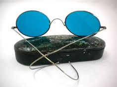 Vintage round sunglasses blue glass lenses by FreshRetroGallery