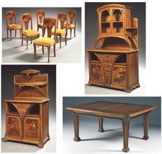 LOUIS MAJORELLE (1859-1926) Ensemble de mobilier comprenant : - Suite de six chaises - Buffet - Table de salle à manger - Desserte Notices développées en regard des photographies reproduites en pp. 14,… - Tajan - 10/12/2008