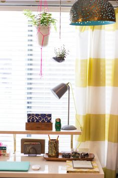 Stripe Citron Shower Curtains from west elm in a home office