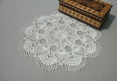 White pineapple doily 14 inches Crochet round doily Beige doily Lace doily Crochet table topper White table topper Gift idea - pinned by pin4etsy.com