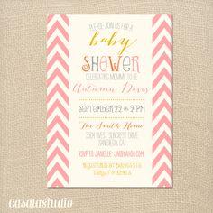 Sweet Pink Chevron Baby Shower Bridal Shower Invitation Baby Shower Invitation Printable OR Printed Card. $15.00, via Etsy.