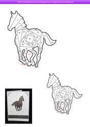 Cantering Horse Iris Folding Pattern