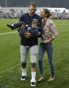 Nice shirt and jeans combination - Could they be any cuter! Gisele Bundchen and son Benjamin cheered on husband Tom Brady during a New England Patriots training session in Foxborough, Massachusetts on Tuesday